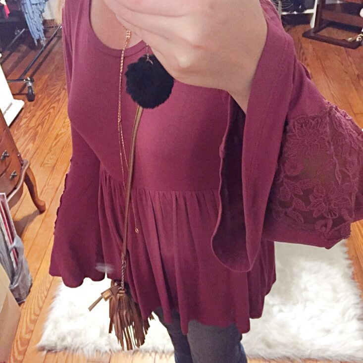mauve babydoll top outfit of the day