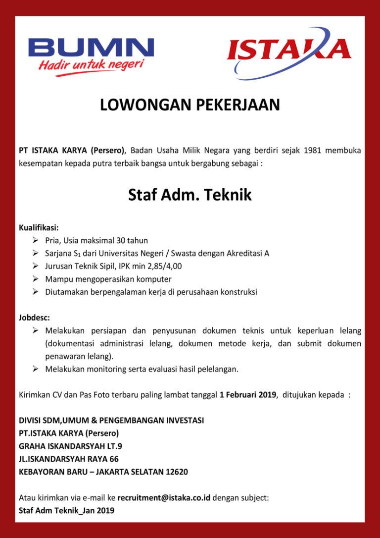 Loker BUMN PT Istaka Karya (Persero) Medan Februari 2019 ...