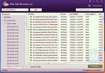 برنامج استعادة واسترجاع الصور والملفات المحذوفة WISE DATA RECOVERY