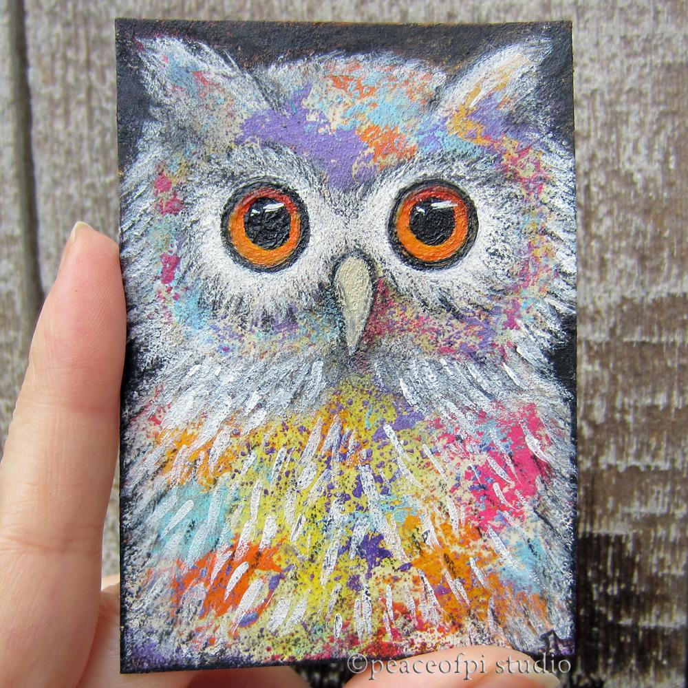 peaceofpi studio: Fantasy Owl Miniature ACEO Bird PaintingSimple Owl Painting