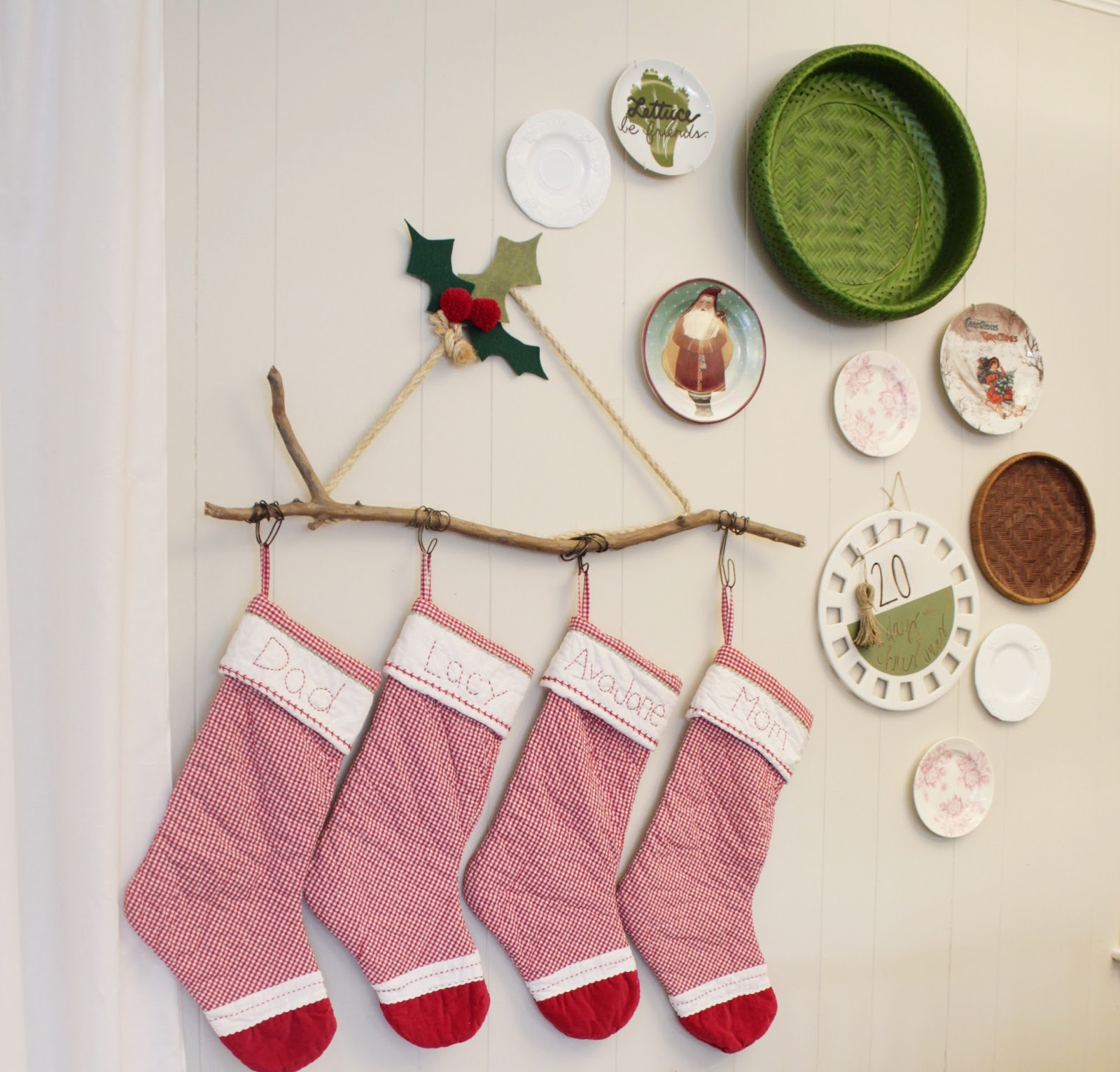 house homemade diy christmas stocking hanger