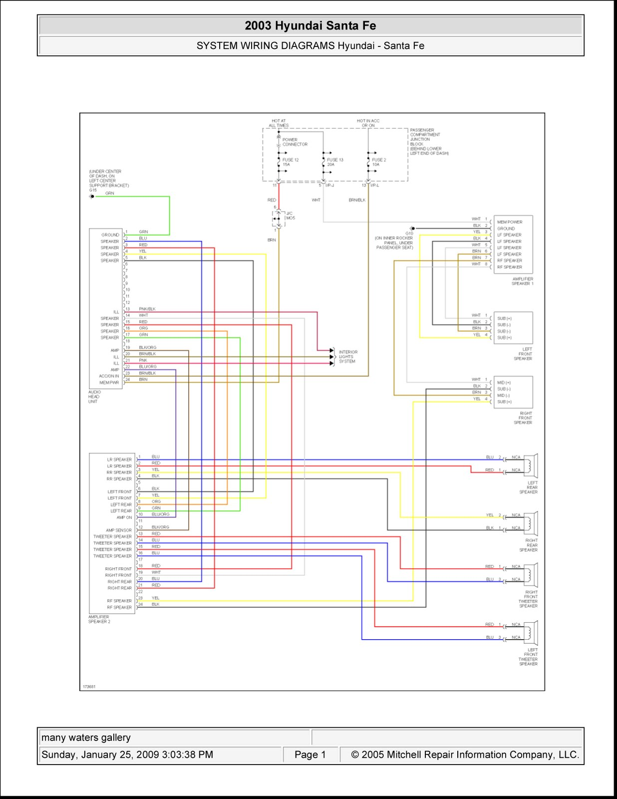 2003 Hyundai Santa Fe | System Wiring Diagrams | Radio Circuits | Schematic Wiring Diagrams