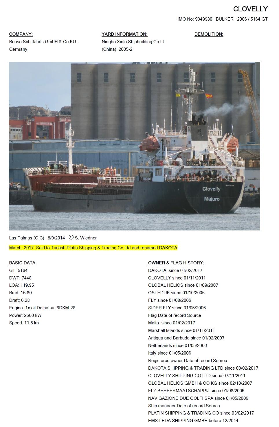 Cargo Vessels International Non Commercial Shipping Research 282500 Clovelly Imo 9349980 2006 5164 Gt 7448 Dwt Ningbo Xinle 2005 2 Daihatsu 8dkm 28 2500 Kw Dakota 2017 2011 17 Global Helios