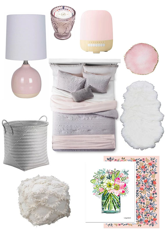 affordable room decor, target, target home, pink and gray, bedroom