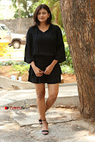 Actress Hebah Patel Stills in Black Mini Dress at Angel Movie Teaser Launch  0035.JPG
