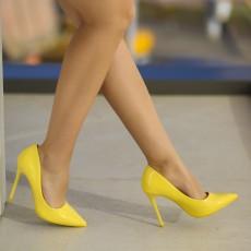 Pantofi dama galbeni ieftini online cu toc moderni