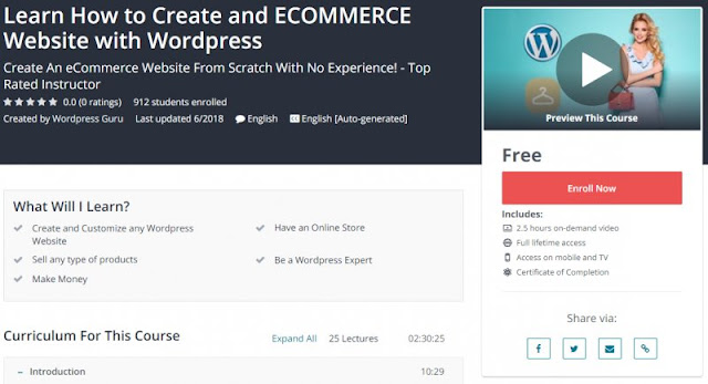 [100% Free] Learn How to Create and ECOMMERCE Website with Wordpress