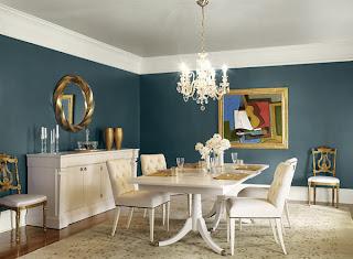 diseño de comedor azul