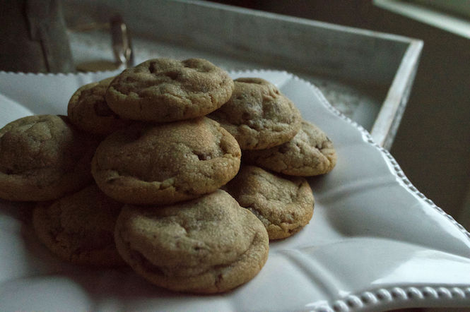 Plate of Peanut Butter Toffee Cookies