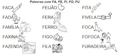 Lista de palavras e desenhos da família silábica FA-FE-FI-FO-FU