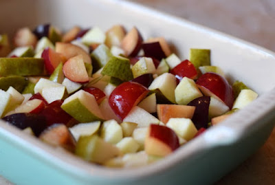 Prepared fruit for a fruit crumble