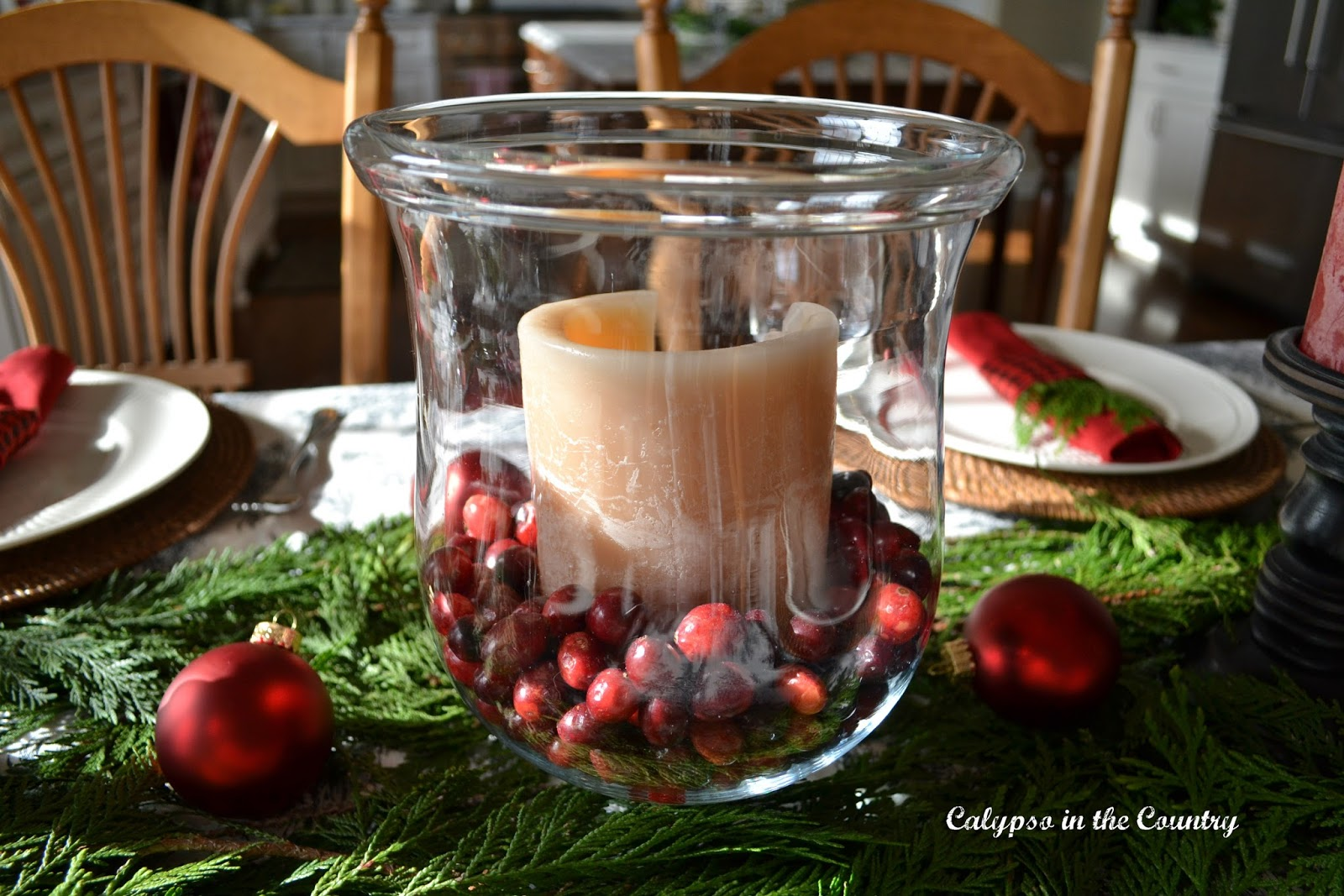 Hurricane and Cranberries on Holiday Table