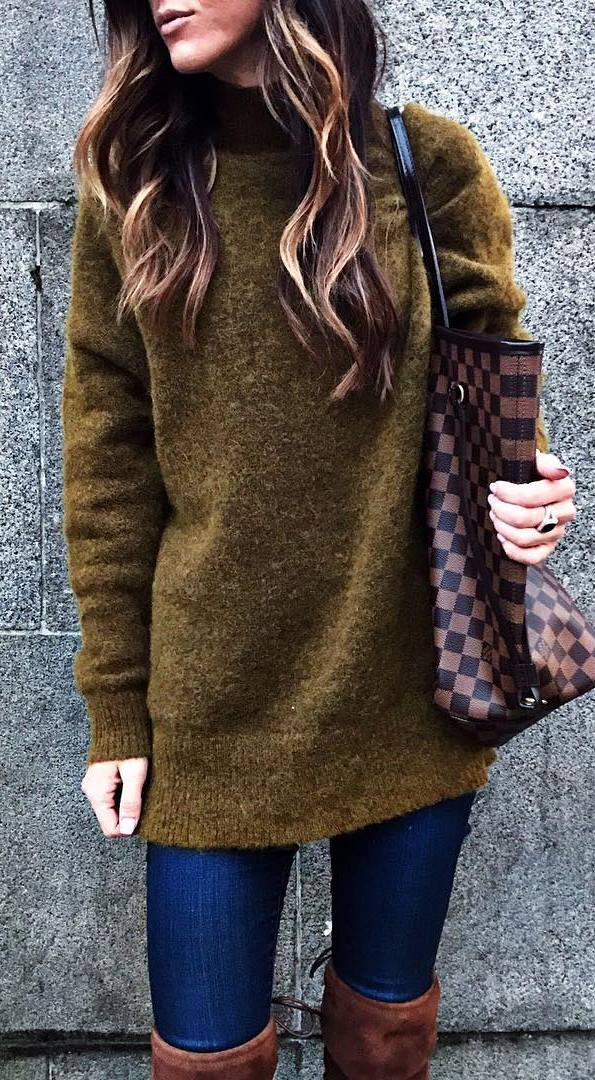 simple outfit / sweater + plaid bag + rips + brown over knee boots