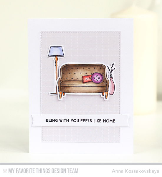 Feels Like Home Card by Anna Kossakovskaya featuring Lisa Johnson Designs Make Yourself at Home stamp set and Die-namics, Inside & Out Stitched Rectangle STAX and Blueprints 27 Die-namics #mftstamps