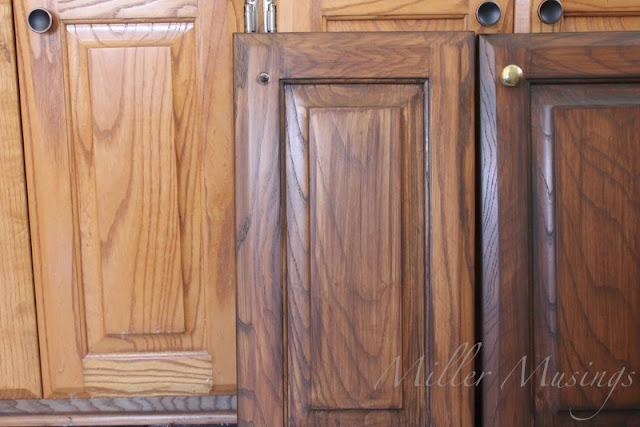 Gray Stain Over Dark Walnut Kitchen Cabinets