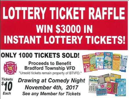 BTVFD is raffling off $3000 worth of scratch off lottery tickets, all proceeds benefit our department.   Tickets are $10 apiece and we only have 1000 tickets, see any BTVFD member or message our Facebook page for tickets.   The winner will be drawn on November 4th, 2017 at our Comedy Night!   https://www.facebook.com/events/361496134270489/?ti=icl