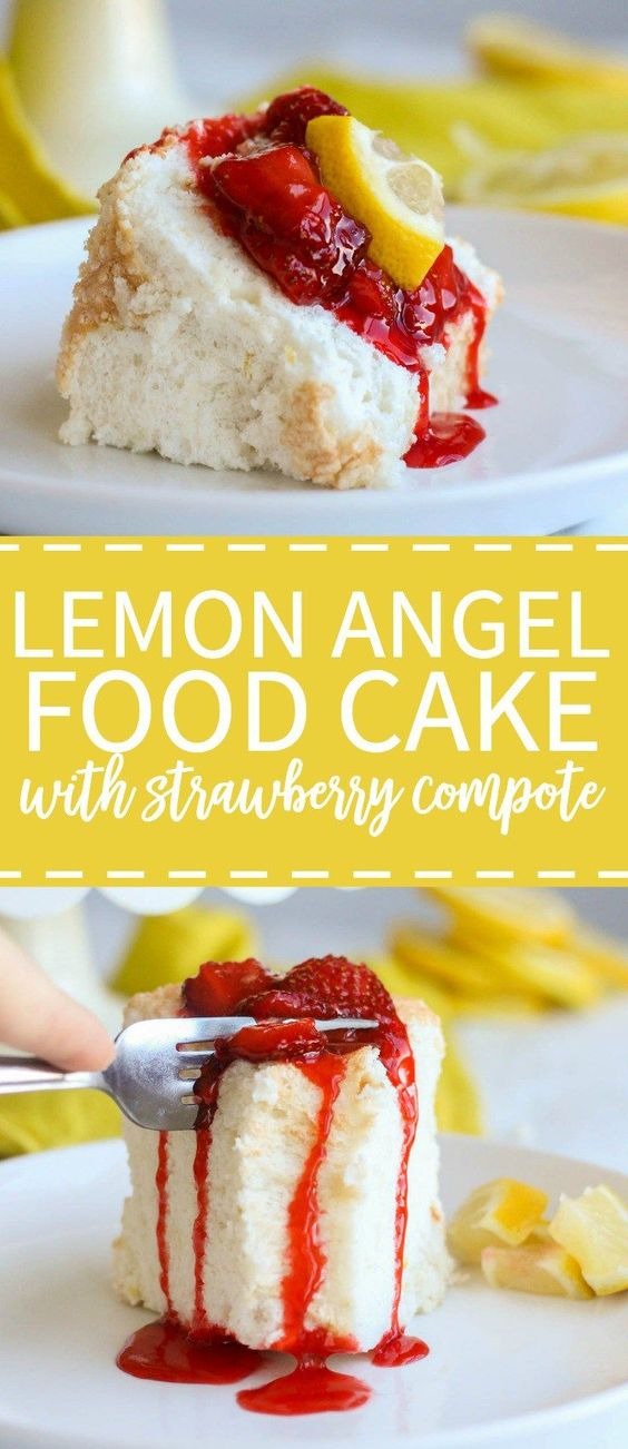 Lemon Angel Food Cake with Strawberry Compote