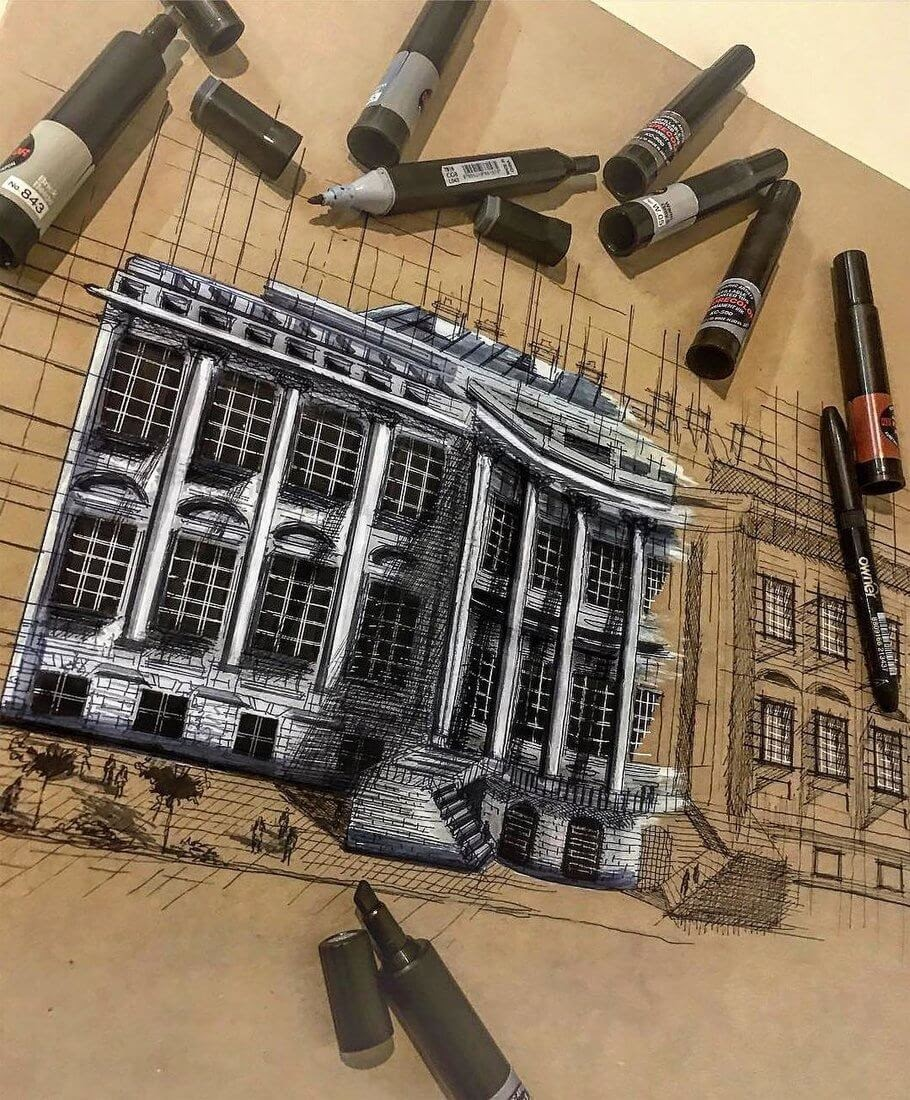 11-The-summer-Erfan-Hasankhani-Ink-and-Color-Architectural-Drawings-www-designstack-co