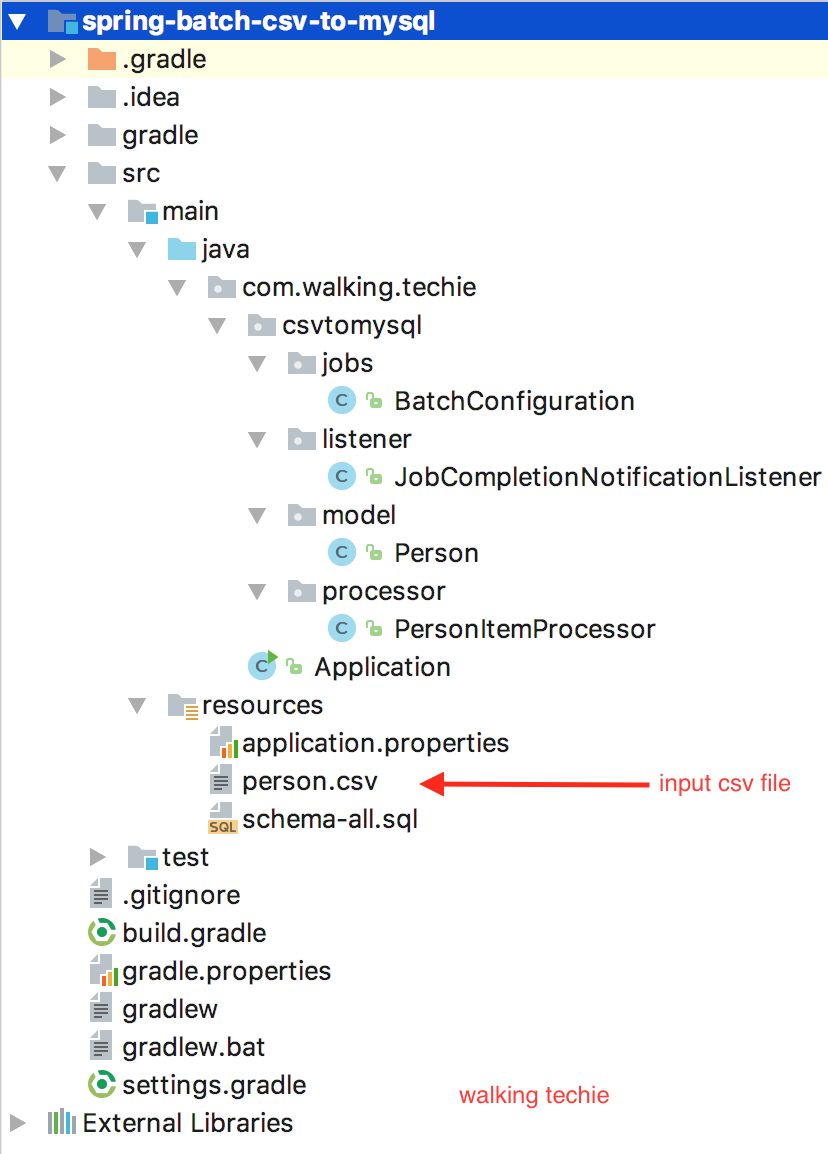 Walking techie spring batch example in spring boot csv file to project dependencies baditri Choice Image
