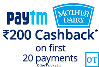 Paytm cashback offer on Mother Dairy