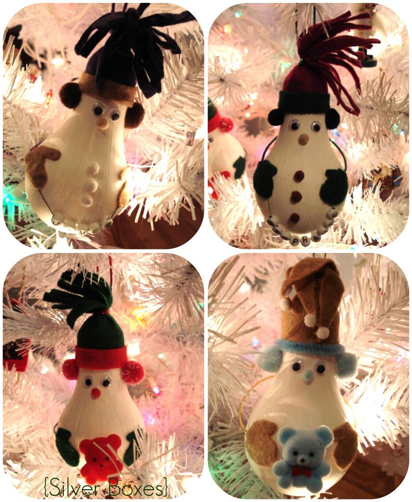 Silver Boxes: Light Bulb Snowmen