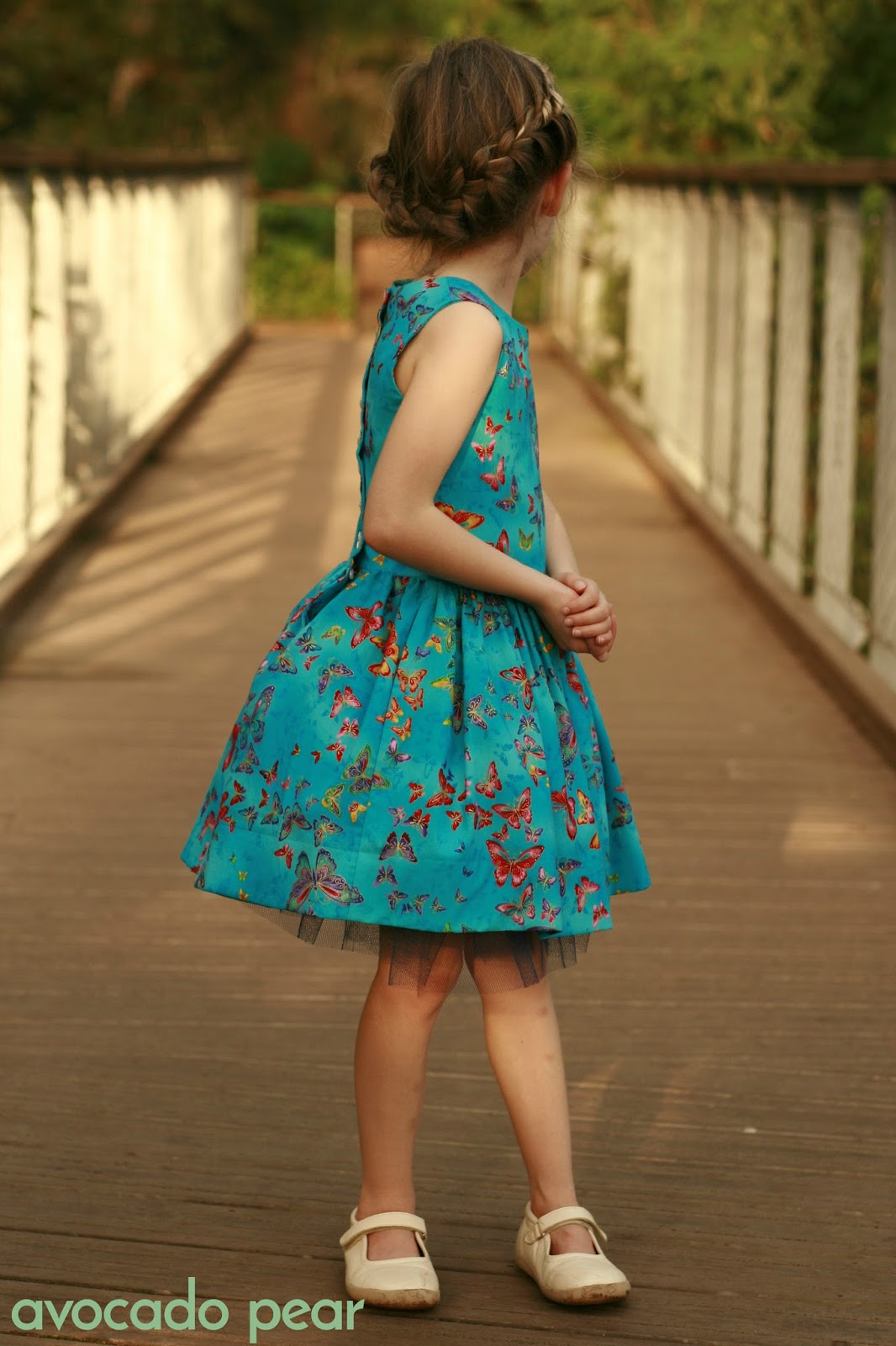 blue butterfly party dress