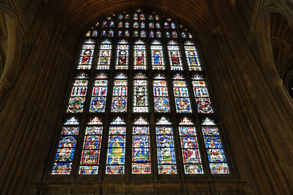 Stained glass window, Canterbury Cathedral, Kent, UK