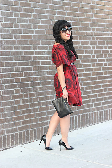 Alice + Olivia Rose Print Dress Valentine's Date Outfit Inspiration