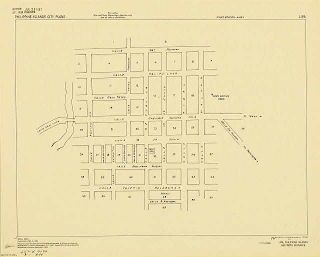 Map of the town of Lipa in 1944 as created by the US Army Map Service.