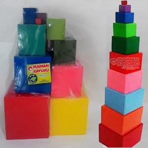 Permainan Montessori Anak Rainbow Tower