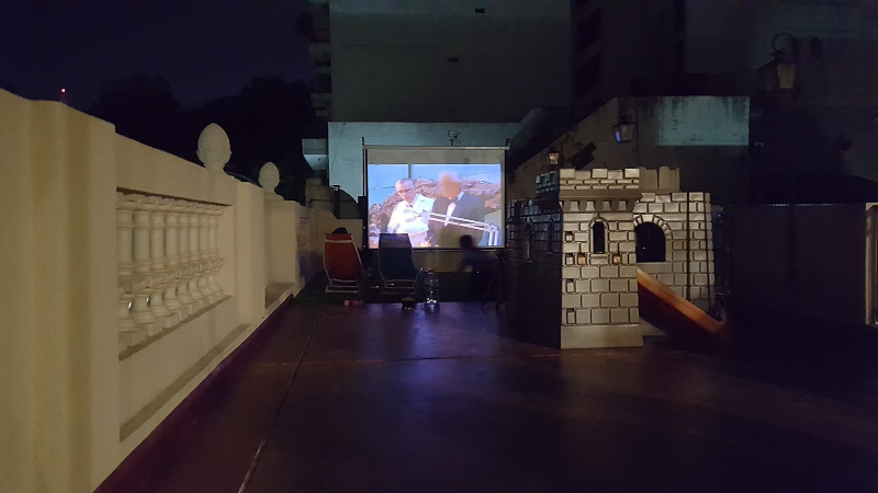 Roof Terrace cinema screen