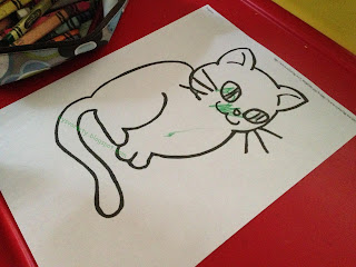 preschool kitten theme coloring page