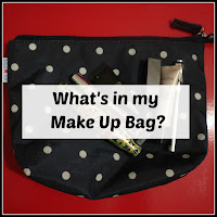 Make up bag, with products, and title overlaid