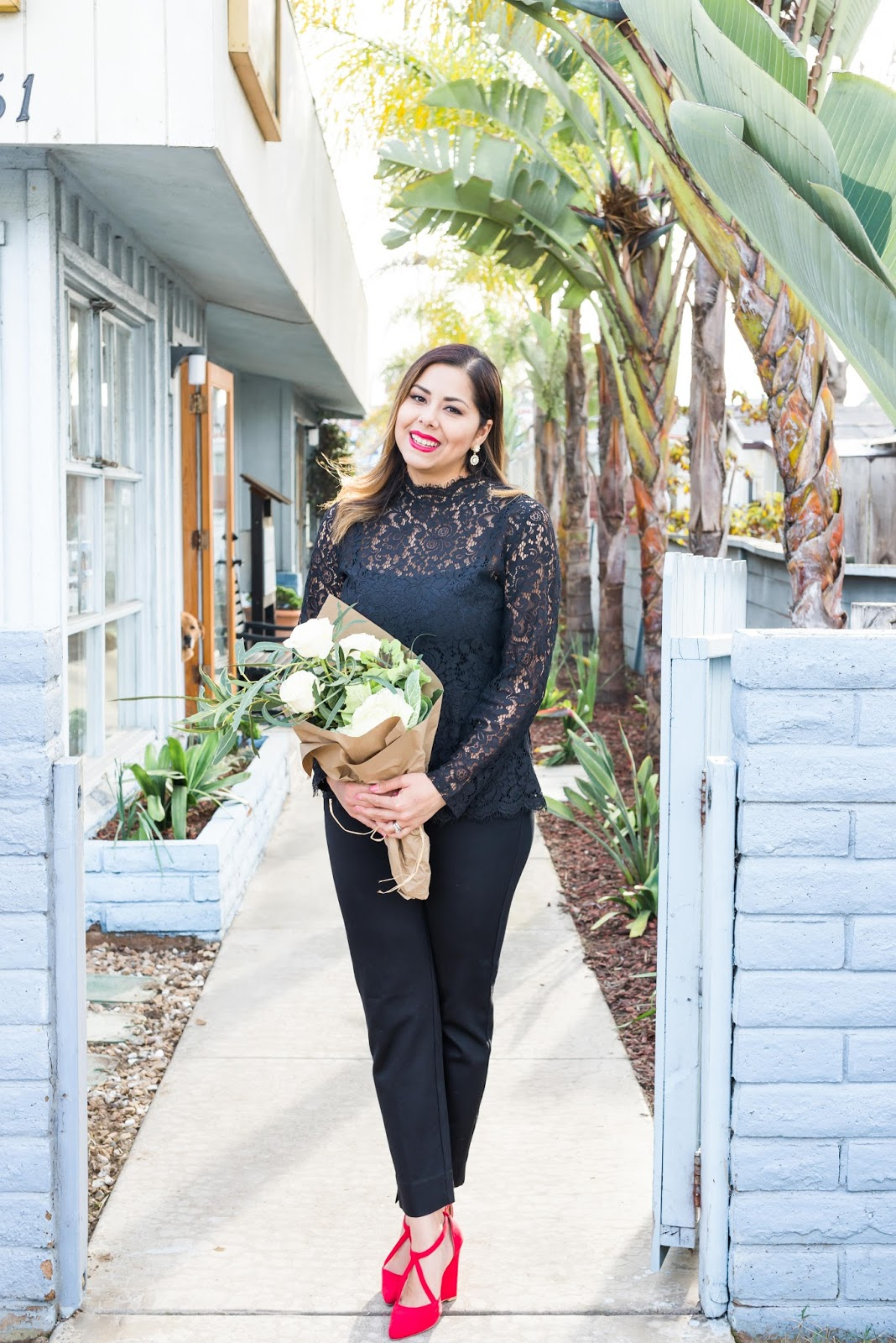Black Lace Valentines Outfit, red statement shoes, black lace peplum top, how to wear black for valentine's day