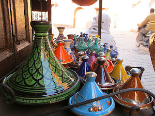 The cone-shaped lid of the tagine traps steam and returns the condensed liquid to the pot