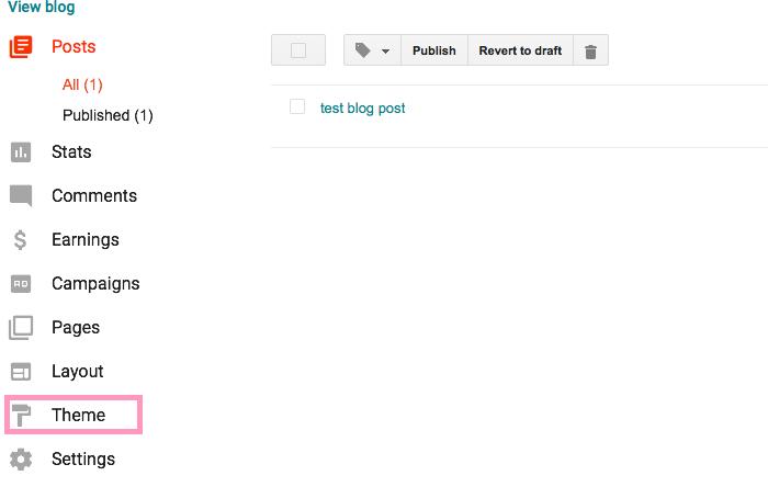 click theme in blogger dashboard