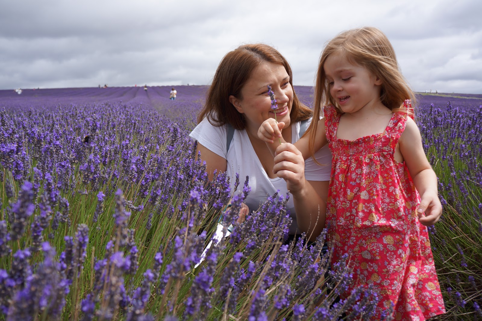 mum and daughter at hitchin lavender, smiling