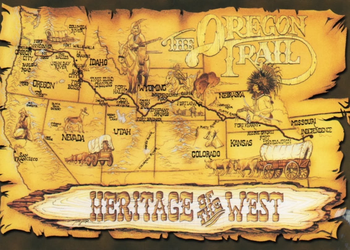 Oregon Trail On Us Map.Postcards Around The World Map Of The Oregon Trail Usa
