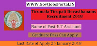 Tirumala Tirupati Devasthanams Recruitment 2018 – B.T Assistant