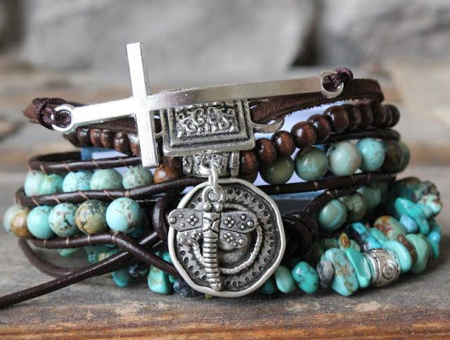 stacked layered bracelets stack bohemian boho turquoise leather wrap ...