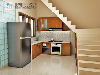 desain kitchen set di bawah tangga