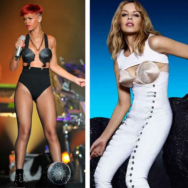 Rihanna e Kilye com lingerie de cone, estilo Madonna