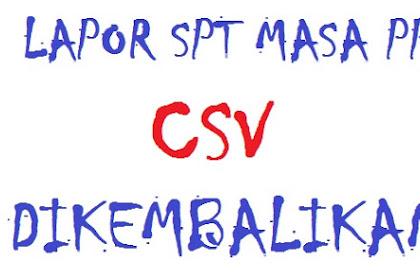 Lapor SPT Masa PPN, CSV e-Faktur Dikembalikan KPP