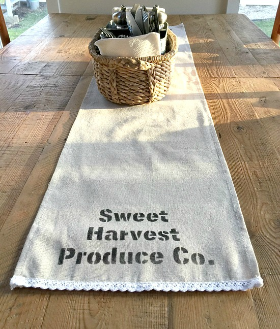 Stenciled table runner using a stencil from Knick of Time