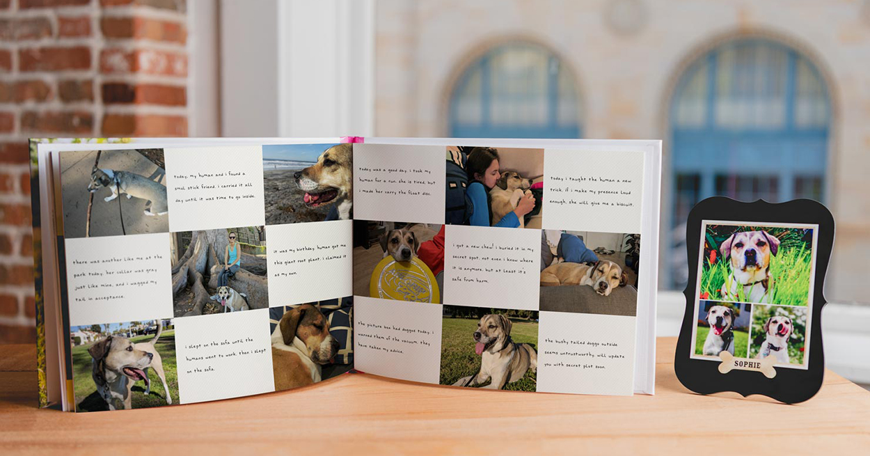 Double page spread example of Custom Photo Dog Book by Shutterfly