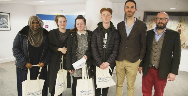 Dr Martin Archer (second from right) with students from Eltham Hill School and Queen Mary's Professor David Berman