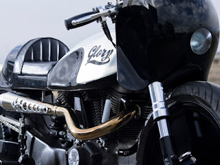 glory buell xb9 drag and cafe by hide motorcycle front right angle