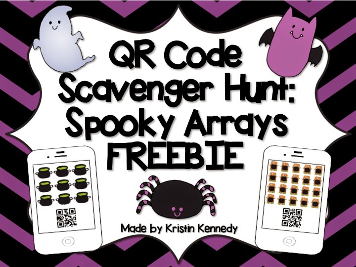 FREE Halloween Arrays QR Code Scavenger Hunt. Students have so much FUN moving around the room to solve the problems with the iPads. Find this and tons of other free ideas and activities for using QR codes in the elementary classroom. You'll find freebies for using QR codes in math, reading, for scavenger hunts, self-checking task cards, listening centers and more on the iTeach 1:1 blog.