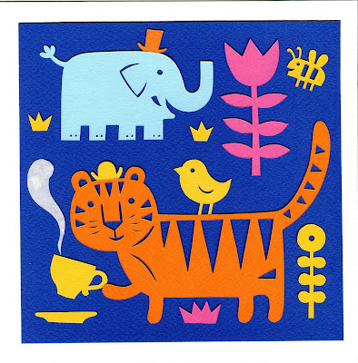 papercut illustration of tiger drinking tea