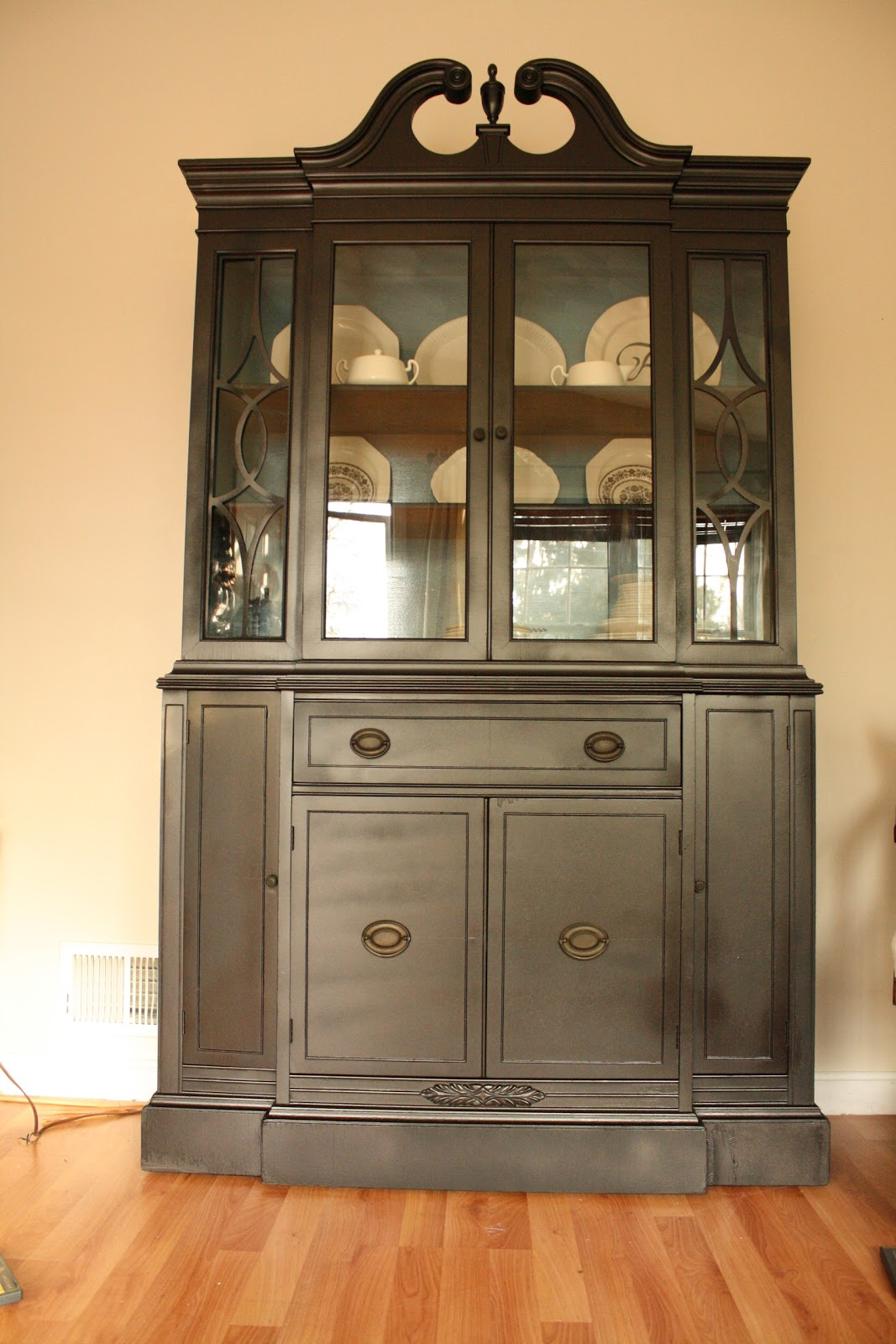 Living Room Updates Spray Painted China Cabinet Makeover
